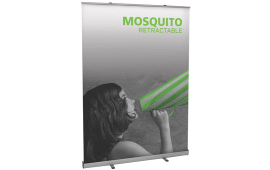 "Mosquito 59"" W by 78.5"" H Retractable Banner Stand"