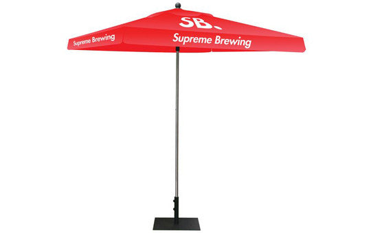 Square Shaped Indoor Outdoor Umbrella Display 1 Imprint Red Top Frame and Hardware Combo