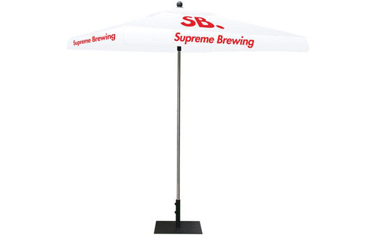 Square Shaped Indoor Outdoor Umbrella Display 1 Imprint White Top Frame and Hardware Combo