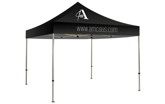 1 Color Imprint Black Top - 10 Foot Custom Canopy Tent Aluminum Frame and Graphic Combo
