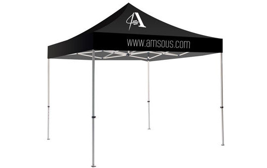 1 Color Imprint Black Top – 10 Foot Custom Canopy Tent Steel Frame and Graphic Combo