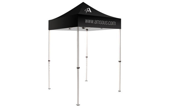 1 Color Imprint Black Top – 5 Foot Custom Canopy Tent Steel Frame and Graphic Combo