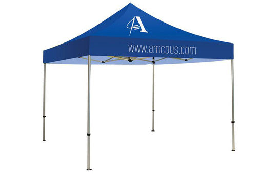 1 Color Imprint Blue Top - 10 Foot Custom Canopy Tent Frame and Graphic Combo
