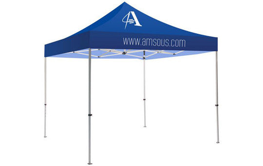 1 Color Imprint Blue Top – 10 Foot Custom Canopy Tent Steel Frame and Graphic Combo