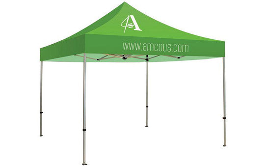 1 Color Imprint Green Top - 10 Foot Custom Canopy Tent Aluminum Frame and Graphic Combo