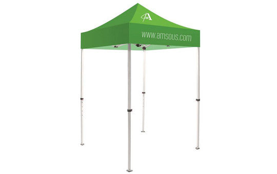 1 Color Imprint Green Top – 5 Foot Custom Canopy Tent Steel Frame and Graphic Combo