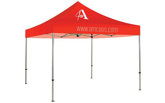 1 Color Imprint Red Top - 10 Foot Custom Canopy Tent Frame and Graphic Combo