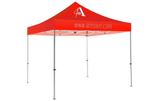 1 Color Imprint Red Top – 10 Foot Custom Canopy Tent Steel Frame and Graphic Combo