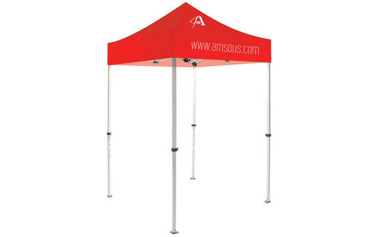 1 Color Imprint Red Top – 5 Foot Custom Canopy Tent Steel Frame and Graphic Combo