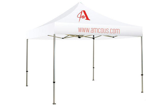 1 Color Imprint White Top - 10 Foot Custom Canopy Tent Frame and Graphic Combo