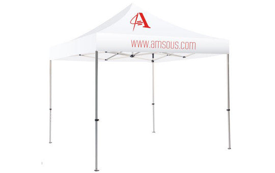 1 Color Imprint White Top – 10 Foot Custom Canopy Tent Steel Frame and Graphic Combo