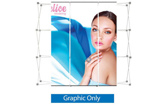 Pop Up 9 Foot Straight Display Center 3 Laminate Graphic Panels Only