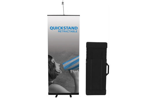 "Quick Stand 31.5"" W by 78.5"" H Single Sided Retractable Banner Stand and Hard Case"
