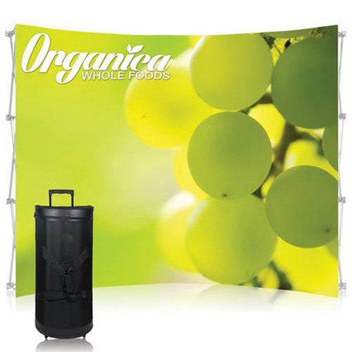 Ready Pop Fabric Pop Up Trade Show Display 10 foot Curved Single Sided Graphic and Frame Combo no End-Caps