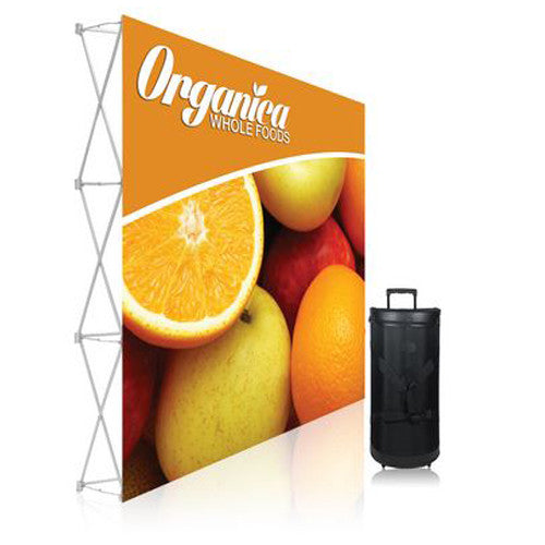 Ready Pop Fabric Pop Up Trade Show Display 8 foot Straight Double Sided Graphic and Frame Combo no End-Caps
