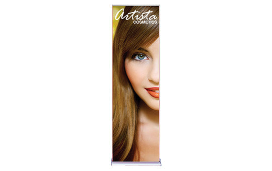 Silver Step 24 inch Wide Retractable Pull-Up Free Standing Banner Stands