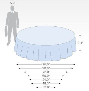 Size Dimension Template for Standard Round Table Covers