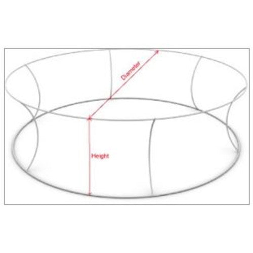 5 foot wide by 36 inch tall round circle hanging banner display outside graphic package frame