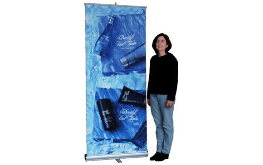 Slim Line Rolly Up Retractable Banner Stand 34 inches wide