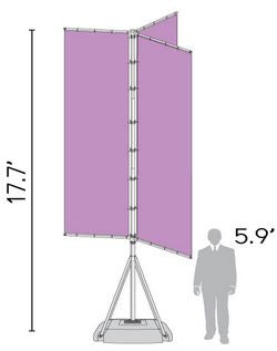 T-Pole Vertical Triple Arm Size Chart