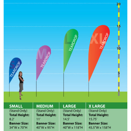 Size reference chart for Teardrop Banners