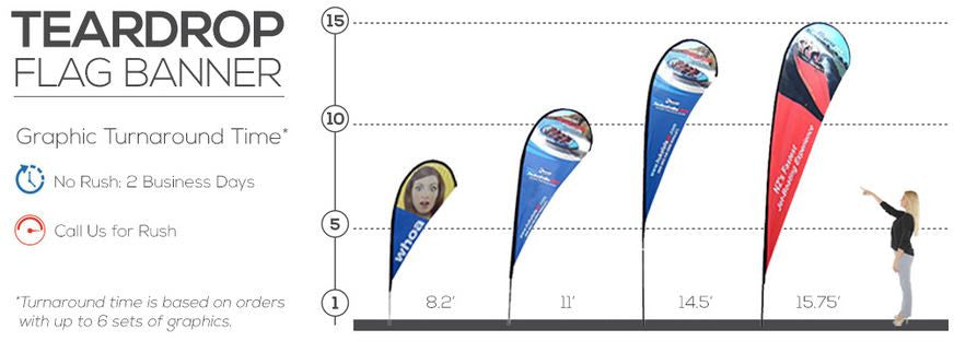 Teardrop Flag Banner Size Reference Chart