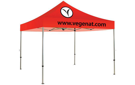 2 Color Imprint Red Top - 10 Foot Custom Canopy Tent Aluminum Frame and Graphic Combo