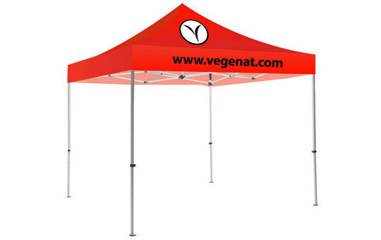 2 Color Imprint Red Top - 10 Foot Custom Canopy Tent Steel Frame and Graphic Combo