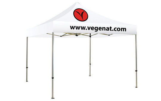 2 Color Imprint White Top - 10 Foot Custom Canopy Tent Aluminum Frame and Graphic Combo