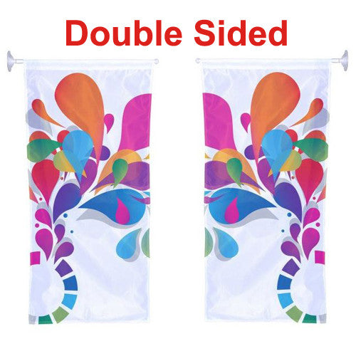 Window Hanging Kit Double Sided 1.5' W x 3.3' H With Banner Arm/Suction Cup Graphic and Hardware