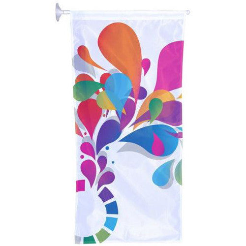 Window Hanging Kit Single Sided 1.5' W x 3.9' H With Banner Arm/Suction Cup Graphic and Hardware