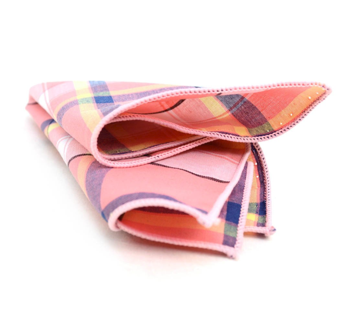 Red and Yellow Plaid Pocket Square Blue Orange