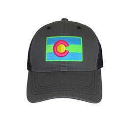 Colorado Curved Bill Flag Hat Neon