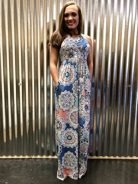 D3374D-8 Printed Maxi Dress with Pockets