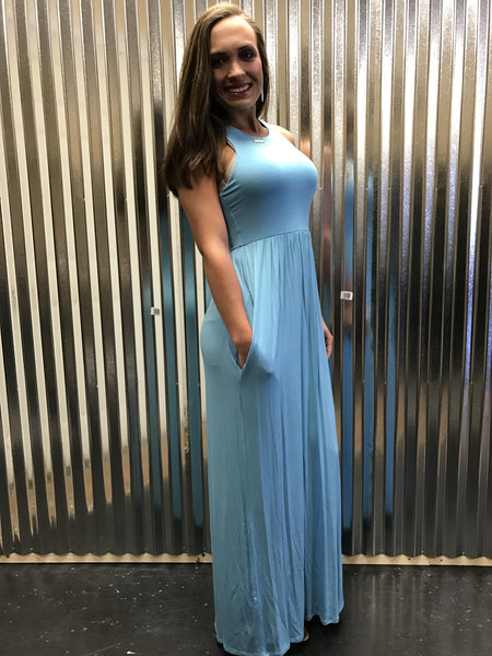 D3374 Solid maxi dress with pockets in turquoise