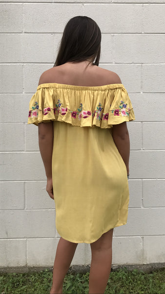 R7312 Ruffled off shoulder dress with floral embroidered detail in honey