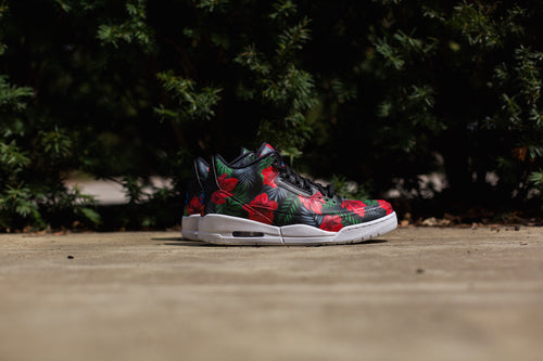 Jordan Three Hand Painted in a Floral Theme by Dejesus Custom Footwear