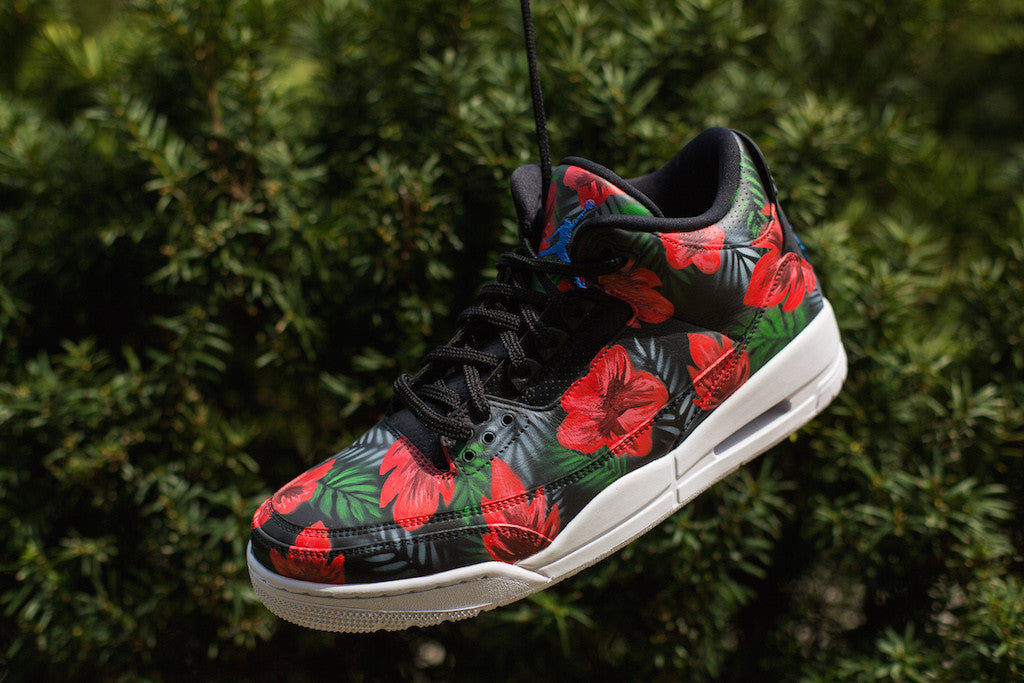 45822723435a5 ... Jordan Three Hand Painted in a Floral Theme by Dejesus Custom Footwear  ...