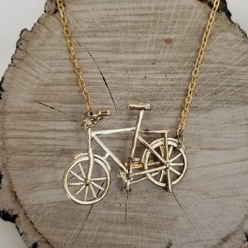 Gold Bicycle Necklace