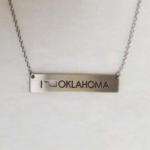 I Heart OK Bar Necklace - Silver - DearBritt