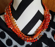 Long Orange Knotted Necklace