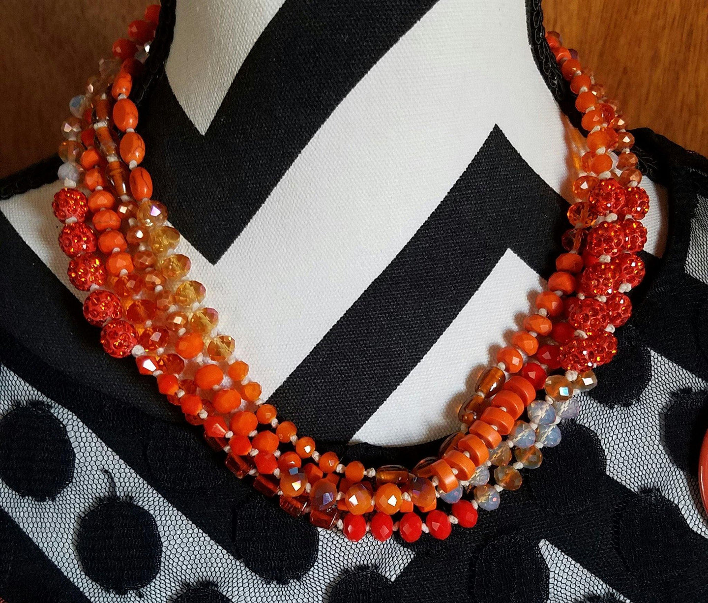 Long Orange Knotted Necklace - DearBritt