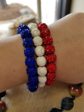 Red White & Blue Bracelet Set