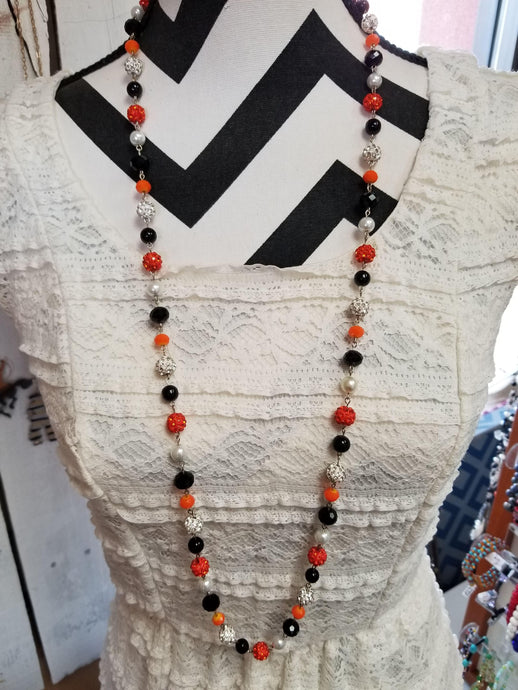 Orange & Black Beaded Chain Necklace