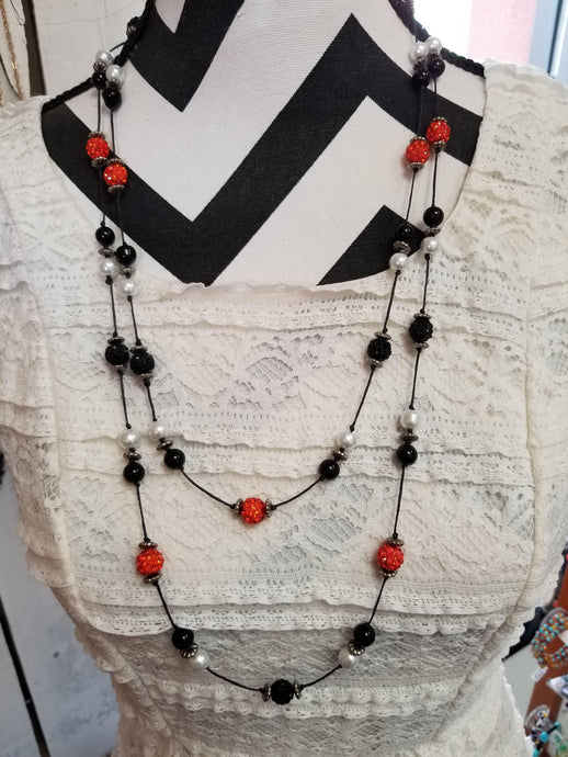 Orange & Black Floating Bead Necklace