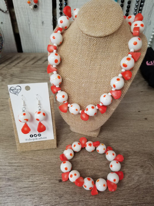 Orange & White Beaded Jewelry Set