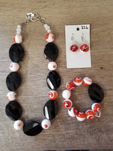 Orange Swirl & Black Bead Jewelry Set