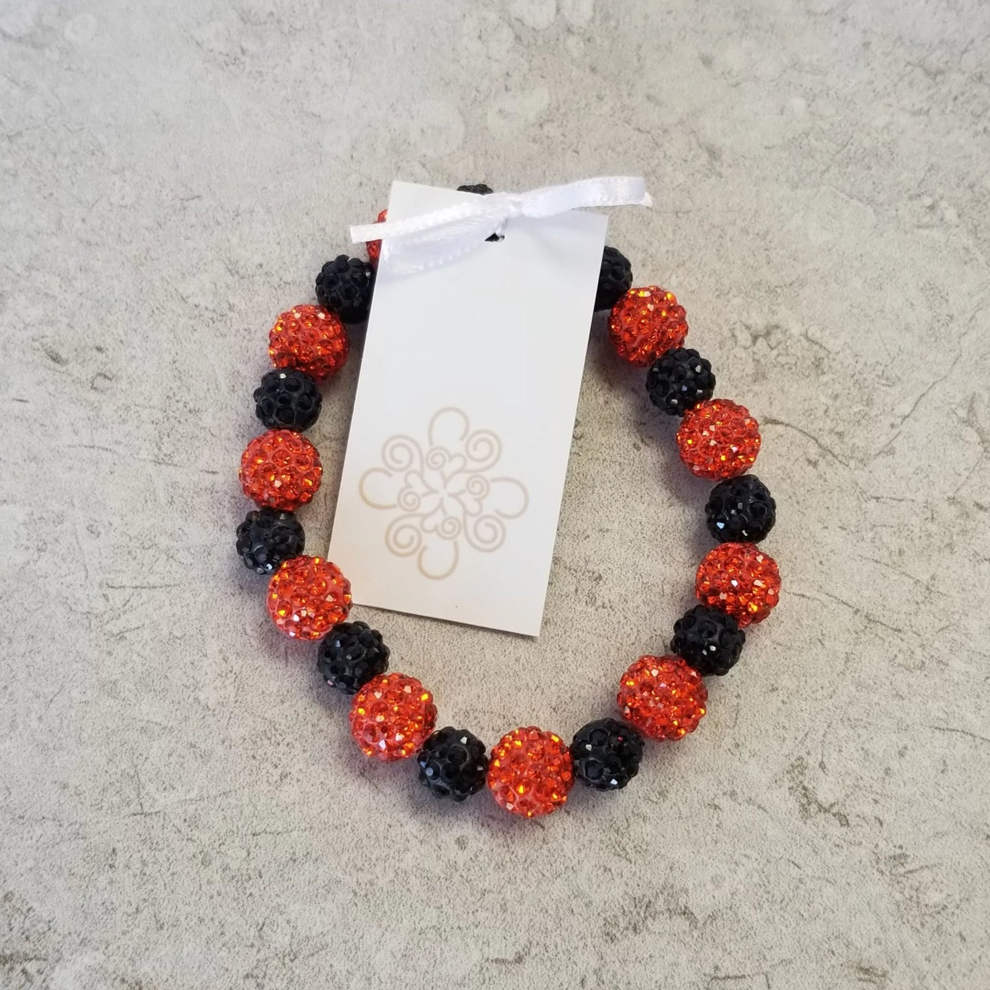 Orange & Black Sparkle Bracelet