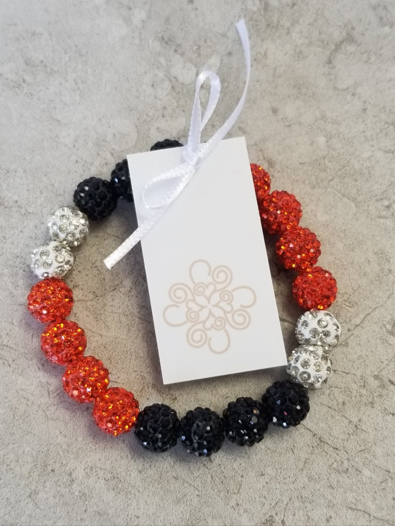 Orange, Black, & White Sparkle Bracelet