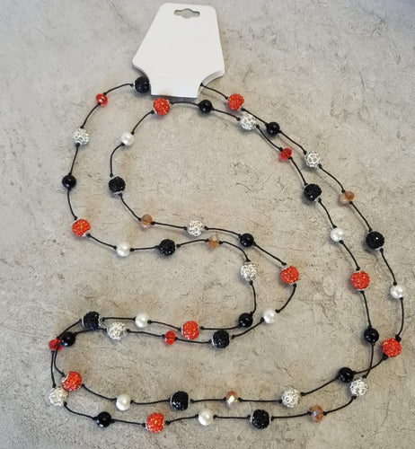 Floating Orange, Black & White Bead Necklace